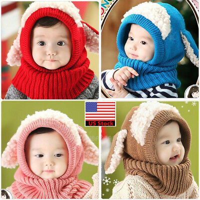 32c5298ad09aa Fashion Kid Baby Toddler Winter Beanie Warm Hat Hooded Scarf Earflap  Knitted Cap