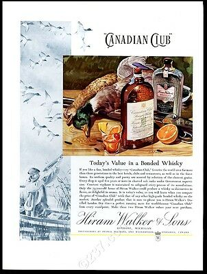 1934 Canadian Club whisky Hiram Walker's gin duck hunter art vintage print ad