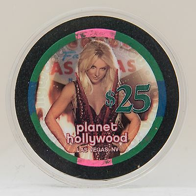 Britney Spears $25 Planet Hollywood Casino Chip in Acrylic Case FREE SHIPPING!
