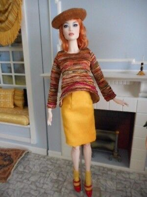 """Separates in Golds- Trapeze Top, Faux Suede Skirt, Beret. Socks for 16"""" dolls"""