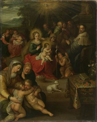"oil painting on canvas "" the christ child as the lamb of god   ""N9861"