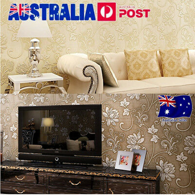 10M Damask Embossed 3D Art Home Stripe Printed Mural Roll Wallpaper Home Decor