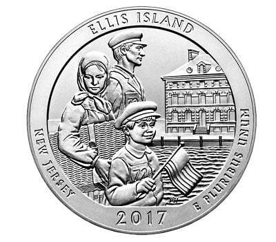 "*NEW-US MINT> 2017 5oz(3"" Dia) Silver ATB Ellis Island-NJ Am Beautiful Coin(BU)!"