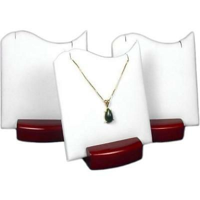3 White Pendant Displays With Rosewood Finish