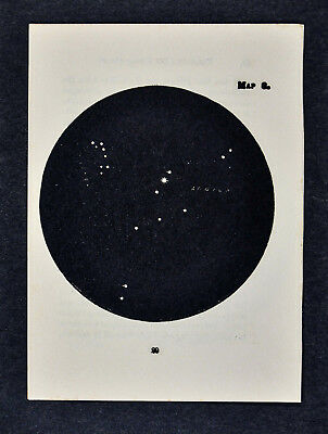1903 Gall Star Map 8 Aquila Eagle - Altair Vega Delphinus Dolphin Constellation
