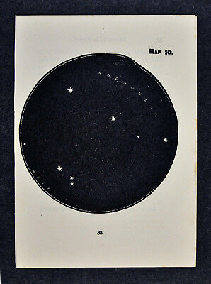 1903 Gall Star Map 10 Andromeda Aires Ram Constellation - Miniature Sky Chart