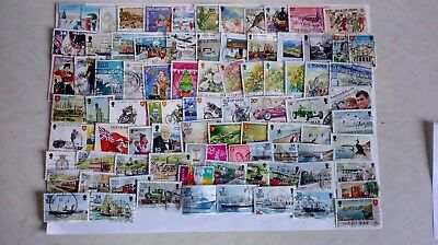 80 Stamps From The Isle Of Man, Used Off Paper, G.b. Regional Stamps