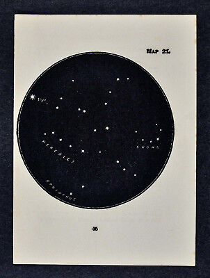 1903 Gall Star Map 21 Hercules Constellation Vega Crown - Miniature Sky Chart