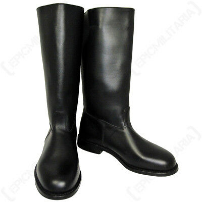 Leather Jack Boots (with heelplate) - All Sizes German Army Post-war Black