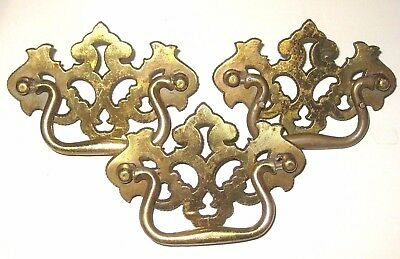 Lot of 3 Vintage Brass Tone Metal Ornate LARGE Dresser Desk Drawer Pull Handles