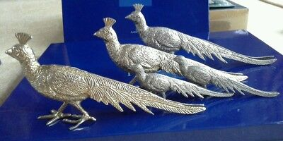 Vintage metal silver colour peacock menu place card holders for christmas table