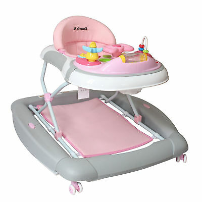 Dream On Me 2-in-1 Crossover Musical Walker and Rocker - Pink/Grey