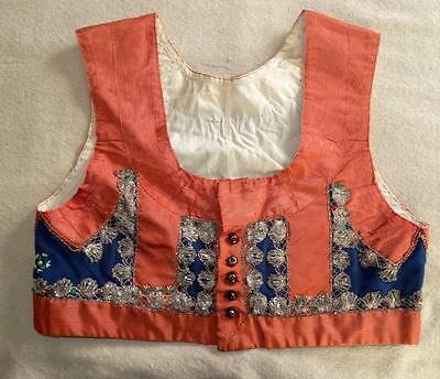 Vintage Ethnic Folk Costume Vest Bodice Gold Metallic Trim Embroidery Moire 34""
