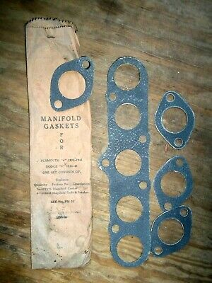 NORS 1933-1941 Plymouth 6, 1933-1941 Dodge 6 Manifold Gasket Set of 5
