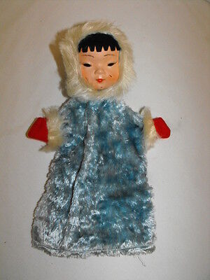 """Vintage Oriental Asian Japanese / ESKIMO Celluloid 12"""" Doll Hand Puppet in Blue"""