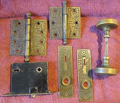 Antique Vintage Eastlake Ceylon Brass Door Knob Set Back Plate Hinges & Lock #5