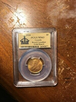 Canada 1914 $5 Gold PCGS MS63. 31,122 minted. Key Date Coin.