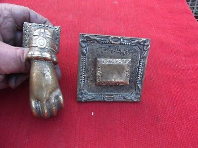 Antique Heavy Brass Hand & Ball Door Knocker With Striker Plate/very Good Detail