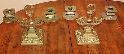Pair Antique French Brass candelabra with Patent Mark Egyptian Renaissance
