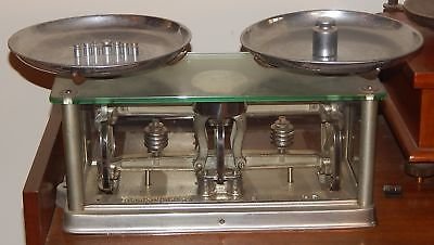 Antique 1891 Apothecary Store Torsion Balance Scale Ny Glass Case Toledo Weights
