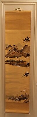 Old Chinese Scroll Painting Village Mountain Landscape Heron