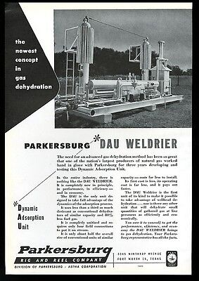 1956 Parkersburg oil rig & reel Dau Weldrier gas dehydrator photo trade print ad