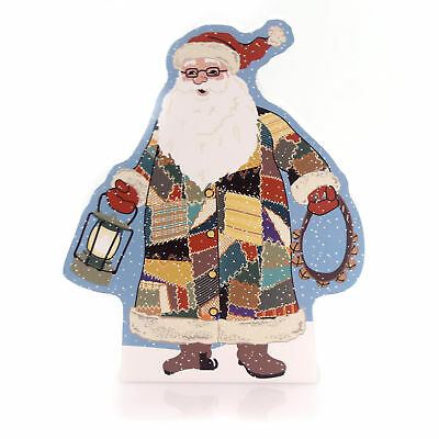 Cats Meow Village 2016 QUILTED SANTA STANDING Wood Christmas Made In USA 16601