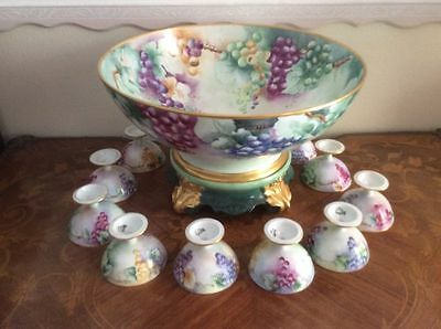 Huge Antique Hand Painted Limoges Punch Bowl, Stand + 10 Goblets c1892