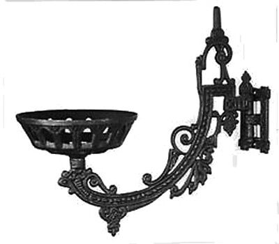 "Ornate Early American / Victorian Cast Iron 11"" Wall Lamp Bracket Frame"