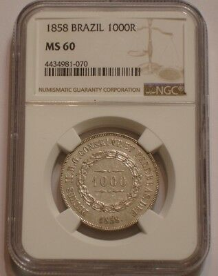 1858 Silver 1000 reis of Brazil NGC MS 60 Uncirculated