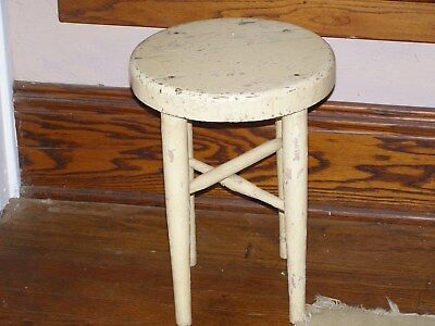 """Antique Stool Vintage Primitive Wood 18"""" Tall yellow chippy paint"""