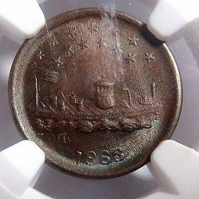 """1863 """" Union Forever - Monitor """" Pcwt  240/341A  Ngc  Ms - 63  No Reserve"""