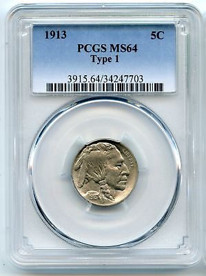 1913 Buffalo Nickel Type 1 - PCGS MS 64 Certified - Philadelphia Mint - AN733