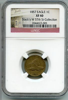 1857 Flying Eagle Cent Penny NGC XF 40 - Stack's W 57th St Collection AN741