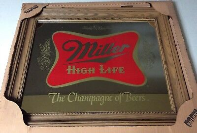 """Vintage Miller High Life Framed Mirror The Champagne of Beers"""" 19.5 X 15.5 NOS"""