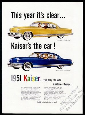 1951 Kaiser DeLuxe Club Coupe and Sedan car color art vintage print ad