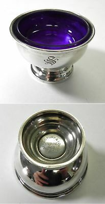 Vintage Shreve Clump & Low Sterling Silver Salt Dish Cellar w/Cobalt Blue Glass