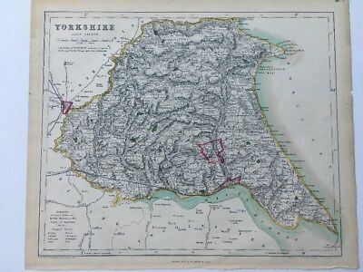Yorkshire East Riding Antique County Map Railways Moule C1840 Easy To Use Hand Coloured