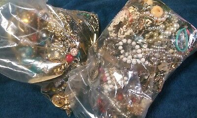 Vintage Lot of Broken Mismatched tangled Costume Jewelry Junk drawer 13 pounds
