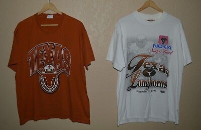 Vintage University of Texas Longhorns 95 Sugar Bowl T-Shirt LOT OF TWO! Large