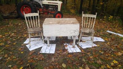 This Antique 1876 Drop Leaf Dining Set with 2 Chairs is date stamped OCT 24 1876