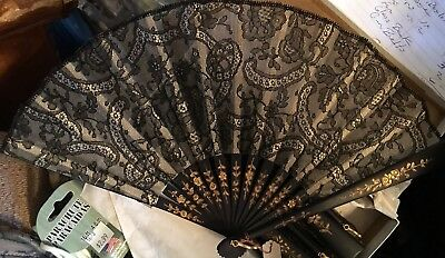 Antique French Hand Painted Lace Hand Fan / Signed