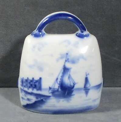 "Oval ""Germany D"" china bell with hallmark ""Blue Ships"" 3.6"" ᵂ"