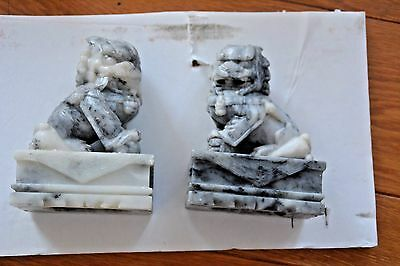 pair VINTAGE hand carved soap STONE Chinese FOO lion DOG book end sculptures