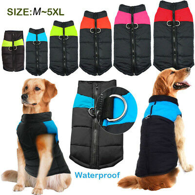 Waterproof Small/ Large Pet Dog Clothes Winter Warm Pets Padded Coat Vest Jacket