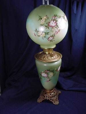 """Victorian Gone W/ The Wind Green Floral Lamp 28"""" Tall  Marked Made In Usa"""