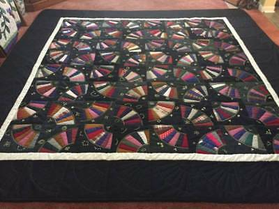 Large FABULOUS Embroidered Crazy Fan Patchwork Quilt w/Provenance