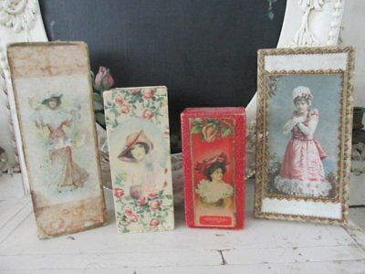 4 GORGEOUS Old Vintage CANDY BOXES WOMEN PORTRAITS PINK ROSES Cardboard