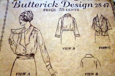 RARE VTG 1920s BLOUSE BUTTERICK Sewing Pattern BUST 36