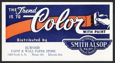 Smith Alsop PAINT Varnish BLOTTER Elwood Wall Paper Store ELWOOD INDIANA c 1930s